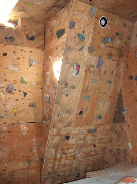 "Rock Climbing Photo: Recessed ""can"" mounted high on the wall."