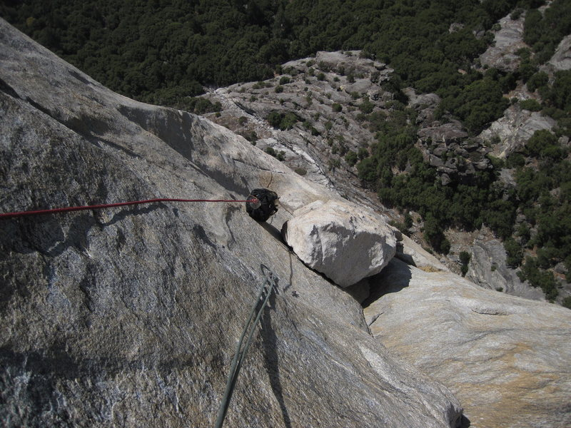 Rock Climbing Photo: Looking down at the Pillar of Despair at the top o...