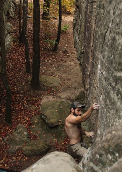 bouldering at font red in AR