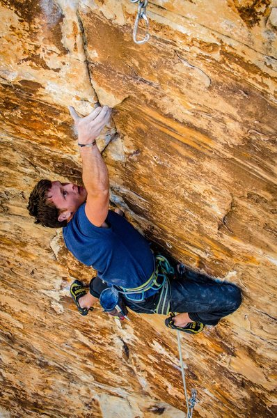 one of the more exciting moves on the climb<br> <br> Sam Cody photo