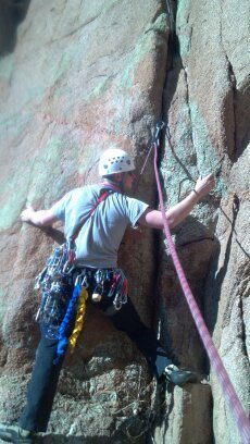 Rock Climbing Photo: Mark starting the unfinished crack on the right si...