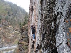 Rock Climbing Photo: Ken climbing Allice in Wonderland in the summer.