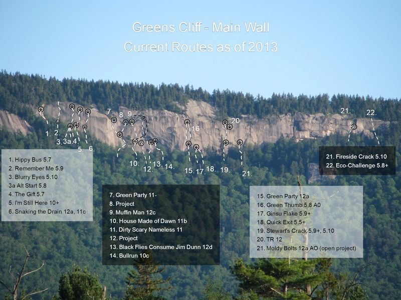 Greens Cliff - Main Wall<br> current routes as of 2013