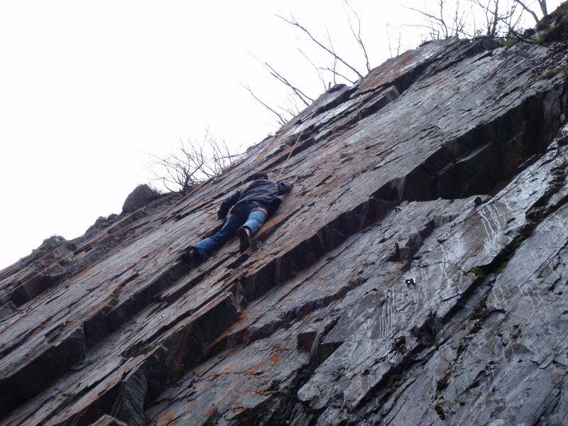 Rock Climbing Photo: Ken climbing Shoot'em Up at The Tunnel Wall.