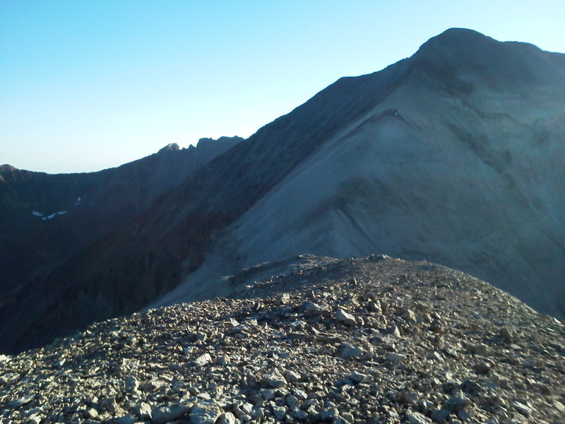 From Campbell looking south to T.O. with a difficult stretch west of S6 on the traverse to Mears on the back skyline.
