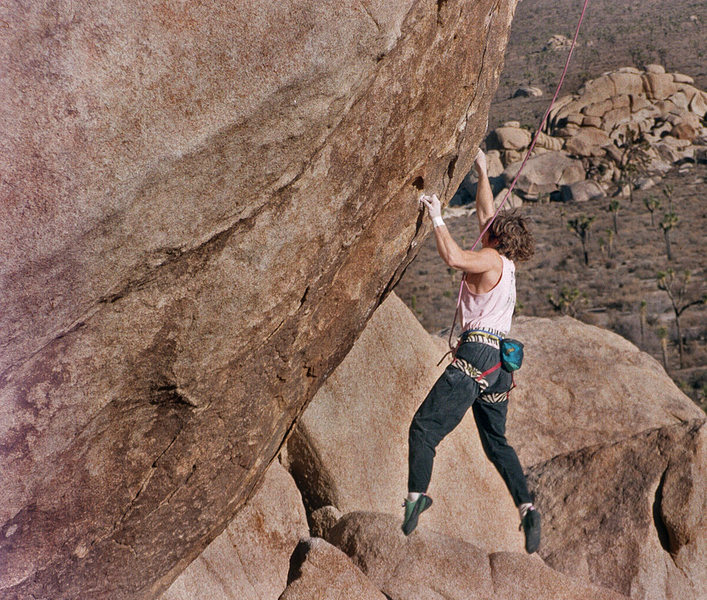Rock Climbing Photo: Me on the steep opening moves.  Late 80's.