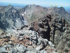 Rock Climbing Photo: Close up is the lower West Summit of Mears with th...