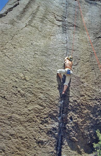 Rock Climbing Photo: Mike Paul mowing down the sweet finger locks.  198...