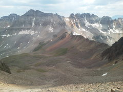 Rock Climbing Photo: View from Mount Sneffels looking south at the trav...