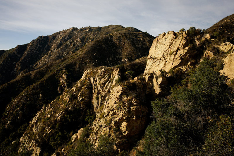 A free solo climber on Midface, at Gibraltar Rock in Santa Barbara.