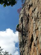 Rock Climbing Photo: The hallelujah hold just after the final crux.