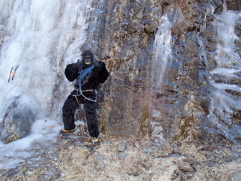 Ice climbing in Gorilla Suit