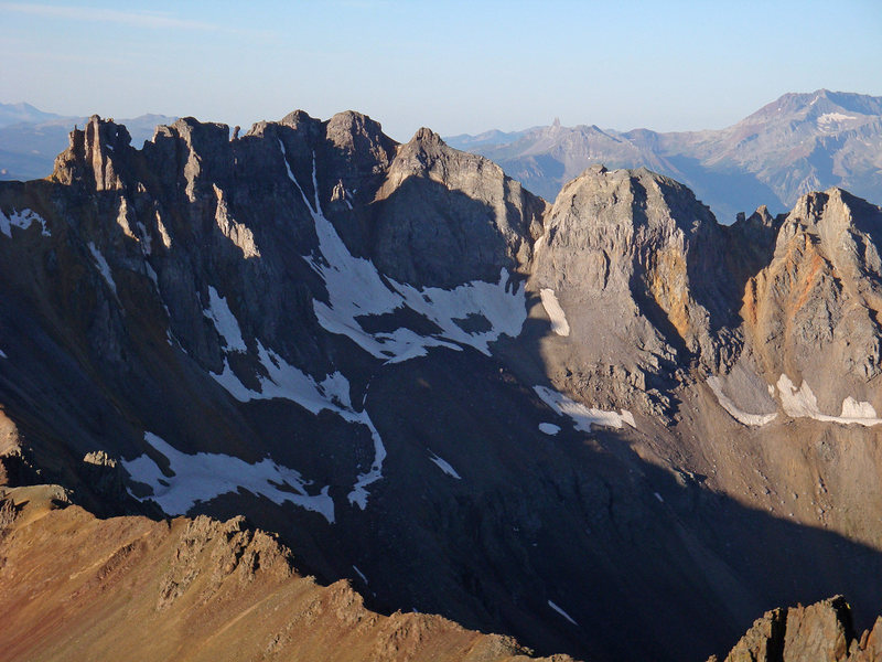 A closer view at Block Tops (13,543') from Sneffels and the challenges presented there. Lizard Head in the way back.