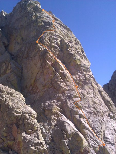Rock Climbing Photo: Upper pitches as seen from midway up North Rabbit ...