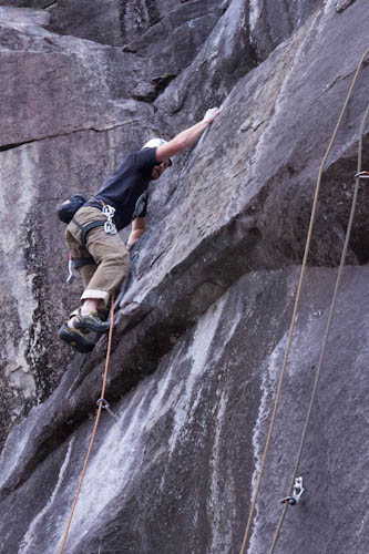 Rock Climbing Photo: Pulling through the crux on the FA