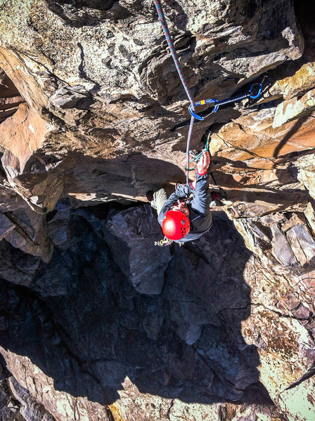 """Rock Climbing Photo: James moving through the steep crux of """"Daydr..."""