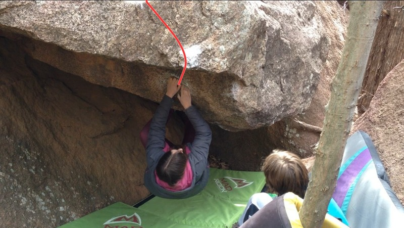 Emily Cole on the starting crimps for Tarzan.