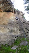 Rock Climbing Photo: Follow crack up and right to the first bolt and co...