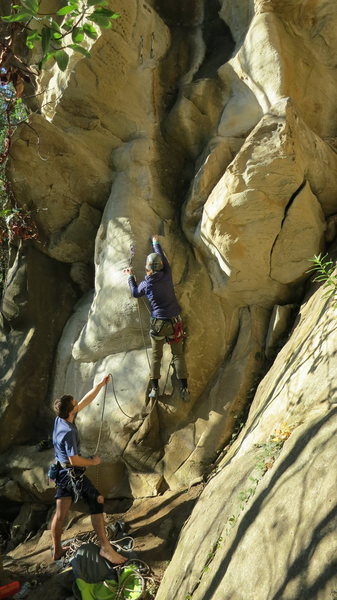 Rock Climbing Photo: Start of Oyster Odyssey. Two glue-in-bolts to the ...
