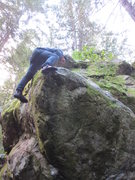 Rock Climbing Photo: Mikhail Y. finishing up the problem around the cor...