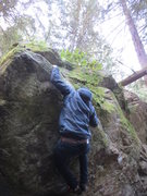 Rock Climbing Photo: Mikhail Y. working the crux of the problem