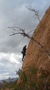 """Rock Climbing Photo: Stormy clouds and gusty winds on """"Sexy Tracto..."""