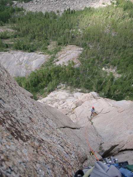Rock Climbing Photo: Trout Man belays pitch five. Photo by Mountain Pro...
