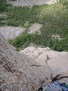 Rock Climbing Photo: Trout Man belays pitch five. Photo by Mountain Pro...