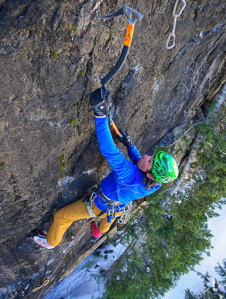 "Eli on the FA of ""Smokey"" (M8+), Bear's Den."