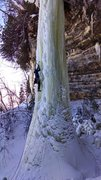 Rock Climbing Photo: Eddie leading up Suck it Up. Munising Ice Fest Feb...