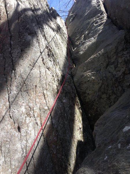 Rock Climbing Photo: Left Crack, 5.9