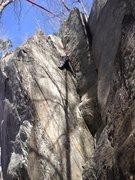 Rock Climbing Photo: Climber on Left Crack.