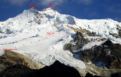 Rock Climbing Photo: The regular Zongo Glacier route up Huayna Potosi.