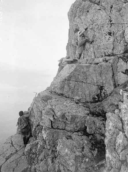 Rock Climbing Photo: Three of the (likely 5 person) team on Ben Nevis, ...