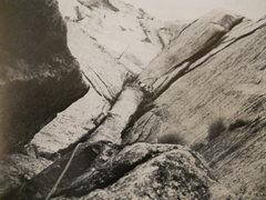 Rock Climbing Photo: Pitch six by Mike Burdick from Climbing #8, 1971.