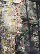 "Rock Climbing Photo: Blue is ""Brownian Motion"", Yellow ""..."