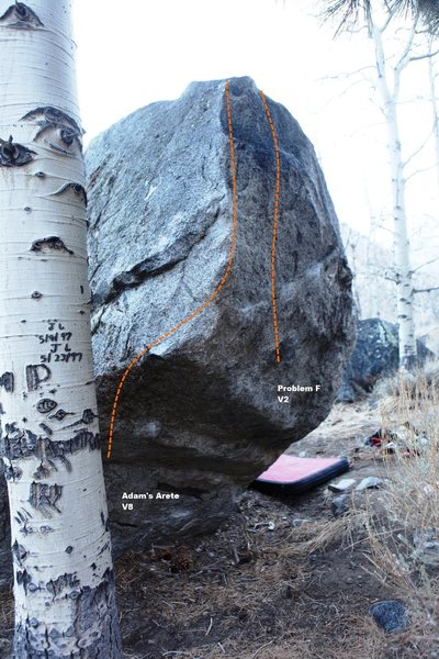 Rock Climbing Photo: Aspen Boulder North East Arete Topo