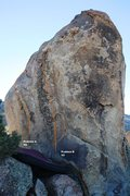 Rock Climbing Photo: Granitic Boulder - East Face Topo