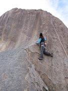 Rock Climbing Photo: Susan up at the first bolt