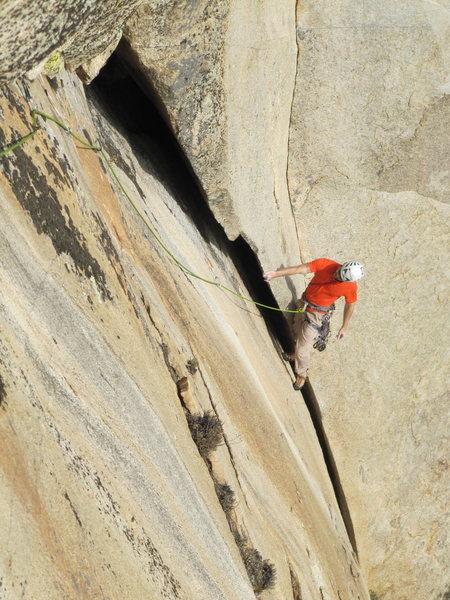 Rock Climbing Photo: Ian Cunningham liebacking the toward the shiny new...