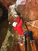 Rock Climbing Photo: Struggling with the Mhard variash to the 3rd pitch...