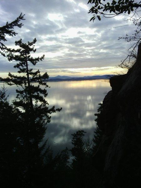 Do yourself a favor. Hike up around the right side of the cliff and enjoy the sunset over Samish Bay.