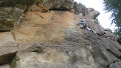 "Rock Climbing Photo: Mikey on ""Saffron Spider"" those flakes r..."