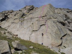 Rock Climbing Photo: The exposed finish marked in yellow.