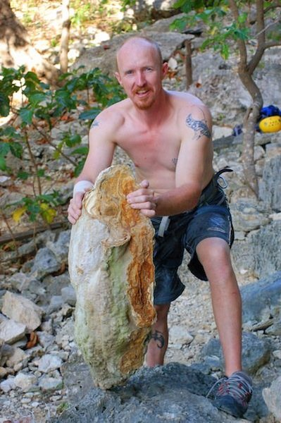 This 20kg stalactite broke when Vance knee-barred behind it, giving him 7 stitches in his arm (note bandage) and almost killing his belayer.