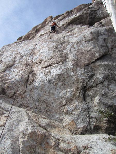 Rock Climbing Photo: Lin about half way up.