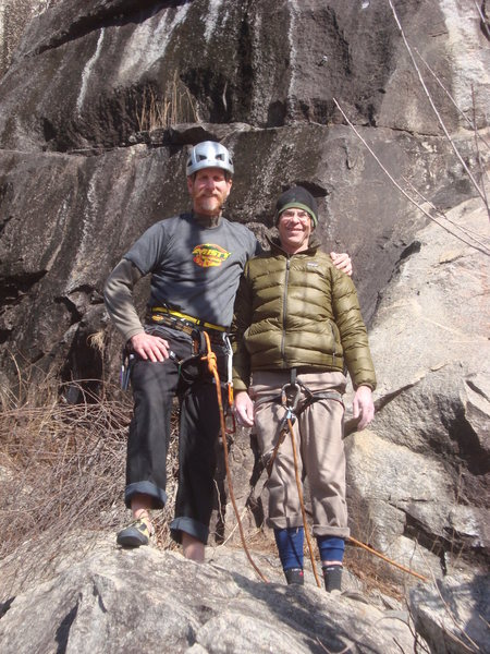Rock Dimensions Owner Ryan Beasley climbing with Co-owner Mike Grimm of Misty Mountain at Rocky Face Mountain Recreational Area. Ryan Beasley is climbing in his new Cadillac harness.