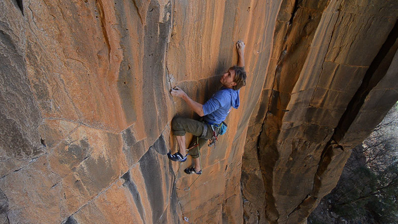 Joel Unema on the FA of Gemini Dragonfire 5.13+, in The Main Amphitheater, at The Waterfall.<br> Blake McCord Photography