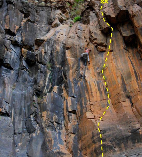 Rock Climbing Photo: JJ on Pyrokinesis: Edited to show line of Gemini D...