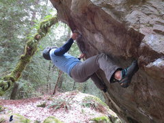 Rock Climbing Photo: Greg B. in starting Position on double underclings...